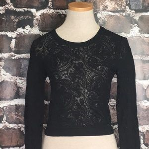 Aritzia Wilfred lace sweater top black crop small